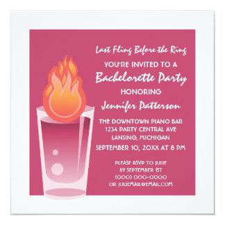 Flaming Shot Bachelorette Party Invite, Fuchsia 13 Cm X 13 Cm Square Invitation Card
