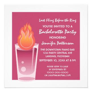 Flaming Shot Bachelorette Party Invite Fuchsia