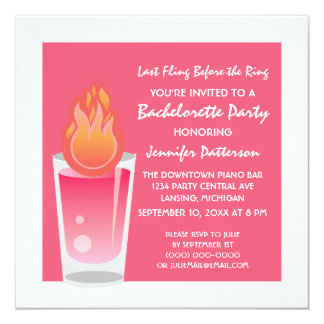 Flaming Shot Bachelorette Party Invite, Pink