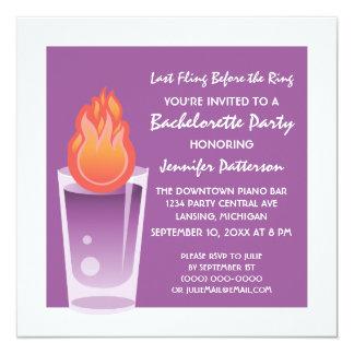 Flaming Shot Bachelorette Party Invite, Purple 13 Cm X 13 Cm Square Invitation Card