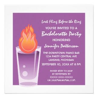 Flaming Shot Bachelorette Party Invite Purple