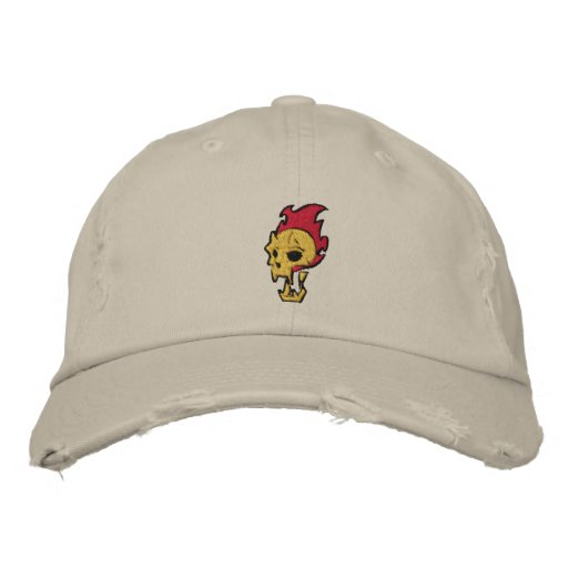 Flaming Skull Embroidered Hats