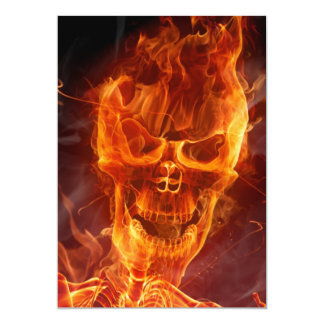 Flaming Skull Halloween Invitation w/Bloody Text