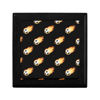 Flaming Soccer Ball Pattern, Fire Balls Small Square Gift Box