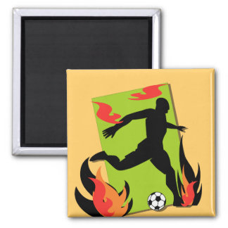 Flaming Soccer T shirts and Gifts Fridge Magnets