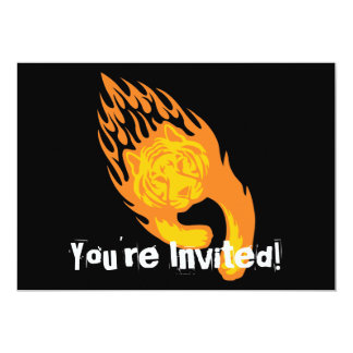 Flaming Tiger #1 5x7 Paper Invitation Card