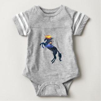 Flaming unicorn baby bodysuit