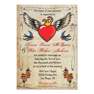 Flaming Winged Heart Tattoo Wedding Invitations