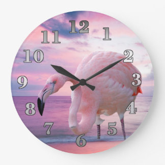 Flamingo and Pink Sky Large Clock