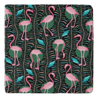 Flamingo Birds 20s Deco Ferns Pattern Black Green Trivet