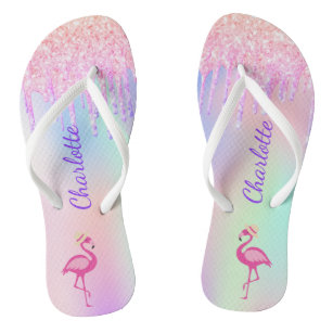 Flamingo glitter tropical name pink holographic jandals