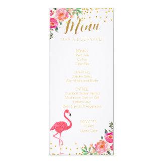Flamingo Gold Wedding Menu Card