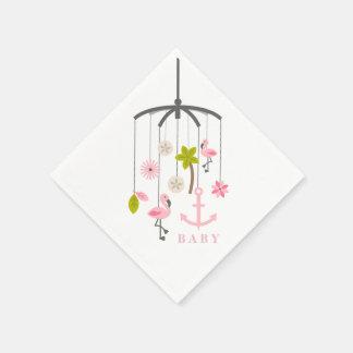 Flamingo Mobile Modern Pink Baby Shower Napkins Disposable Serviette