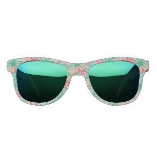 Flamingo Palm Tree Burlap Look Sunglasses
