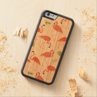 Flamingo Pattern Watercolor Wood iPhone Case