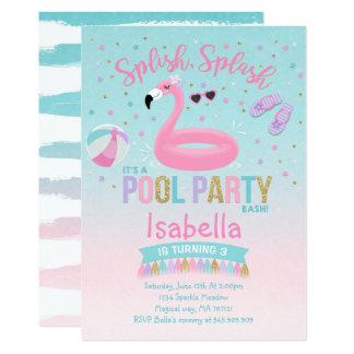 Flamingo Pool Party Birthday Invitation Pink Gold