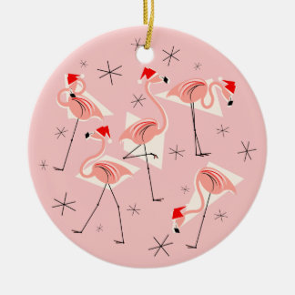 Flamingo Santas Pink Merry Christmas round Christmas Ornament