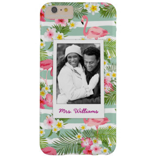 Flamingos And Stripes | Add Your Photo & Name Barely There iPhone 6 Plus Case
