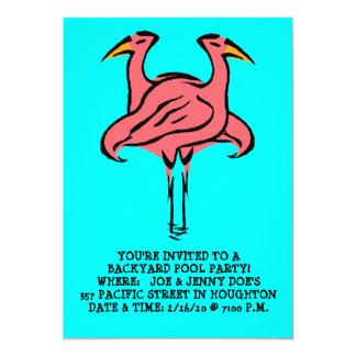 FLAMINGOS ~POOL PARTY INVITATION ~ EZ TO CUSTOMIZE