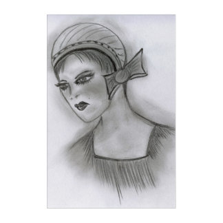 Flapper Girl With Bow Acrylic Print