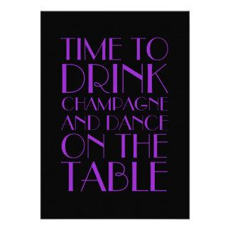 Flapper Wedding Invitation in Purple Invitations