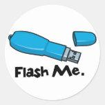 flash me flash drive design round sticker