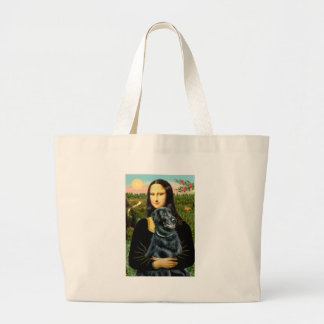 Flat Coated Retriever 2 - Mona Lisa Large Tote Bag