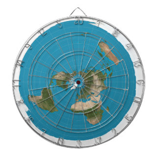 Flat Earth Azimuthal AE Map Round Dartboard