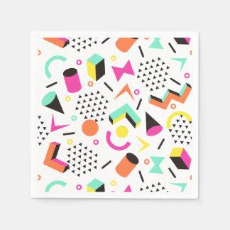 Flat Geometric Squiggly Memphis bold pattern 1980s Paper Serviettes
