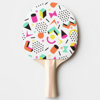 Flat Geometric Squiggly Memphis bold pattern 1980s Ping Pong Paddle
