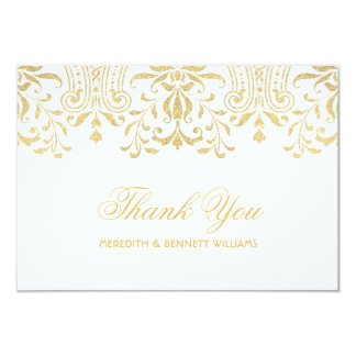 Flat Thank You Note Card | Gold Vintage Glamour 9 Cm X 13 Cm Invitation Card