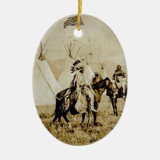 Flathead Indians Vintage Native American Warriors Ceramic Oval Decoration