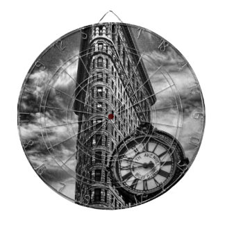 Flatiron Building and Clock in Black and White Dartboard