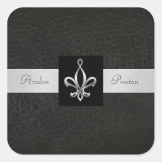 Fleur De Lis Black Leather Square Wedding Sticker