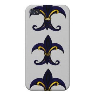 Fleur de lis blue/gold case for iPhone 4