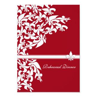 Fleur de Lis Casual Rehearsal Dinner Red White 13 Cm X 18 Cm Invitation Card