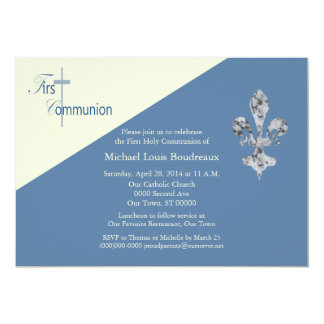 Fleur de Lis First Communion Invitation