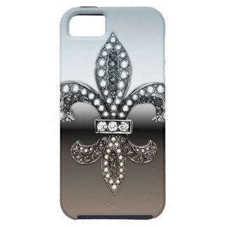 Fleur De Lis Flor  New Orleans Silver Black iPhone 5 Cover