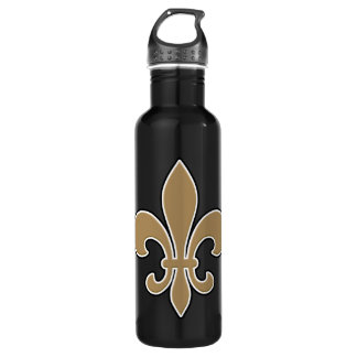 Fleur de Lis Gold with White and Black Outline 710 Ml Water Bottle