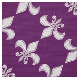 Fleur de Lis royal purple pattern Fabric