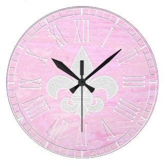 Fleur-de-lis Vintage Washed Wood Large Clock