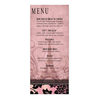 Fleur de Paris Eiffel Tower Dinner Menu | pink 10 Cm X 24 Cm Invitation Card