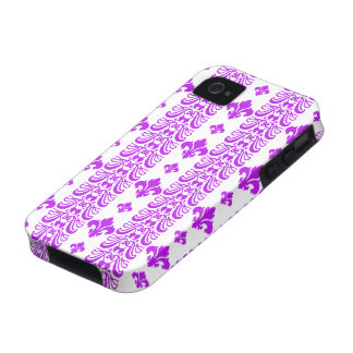 Fleur Stripe 1 Purple Case-Mate iPhone 4 Cases
