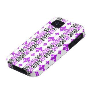 Fleur Stripe 1a Purple Case For The iPhone 4