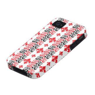 Fleur Stripe 1a Red iPhone 4 Cases