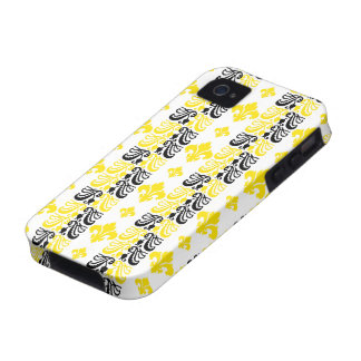 Fleur Stripe 1a Yellow Vibe iPhone 4 Cases