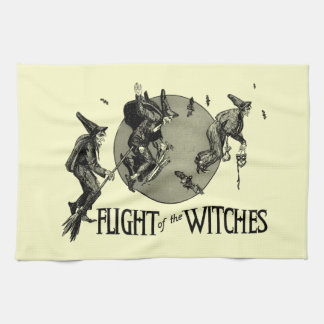 Flight of the Witch Vintage Halloween Illustration Tea Towel