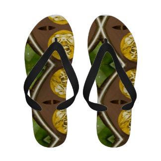 Flip a flop in green flip flops