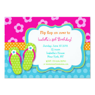 Flip Flop Luau Pool Party Birthday Invitaitons 5x7 Paper Invitation Card