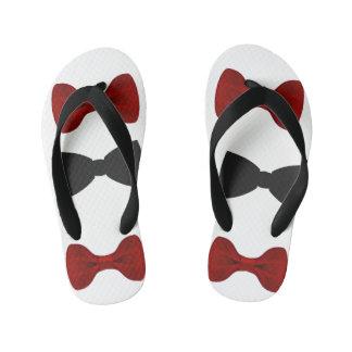 Flip Flops, Red & Black Bow Tie Kids Thongs